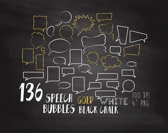136 Chalk Bubbles Clipart, Chalk Talk Bubble Clipart, Chalkboard Speech Bubbles, Gold, White, Black, Commercial Use, Comics Speech Bubbles