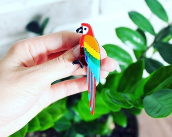 Ara Parrot Bird Brooch - Laser Cut Parrot - Acrylic Brooch Parrot - Jewelry Ara Parrot Bird - Plexiglas - Handmade - Barnaul