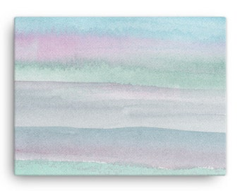 Seaside Garden Abstract Art on Canvas - MADE IN USA - Pink Green Blue - 12X16 Wall Art - Watercolor Painting - Abstract Gradient Art