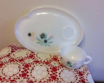 ThreeFederal Milk Glass Snack Sets (Plate & Cup) Atomic