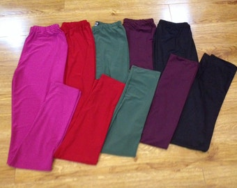 Girls & ladies Leggings Lycra Material in Gorgeous Colours Pink/ Red/ Duck Egg/ Black Sizes 2-12 Years S/ M/ L/ XL/ XXL