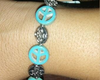 Turqouise & Silver Peace Sign Bracelet