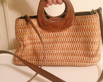 Vintage 1970s Fossil Woven Bag