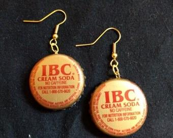 Gold IBC Cream Soda Bottle Cap Earrings