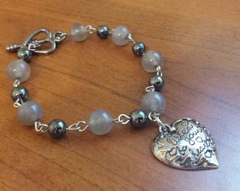 Agate and Hematite Heart Charm Bracelet