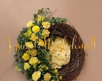 NEWBORN DIGITAL BACKDROP: Yellow Floral Nest