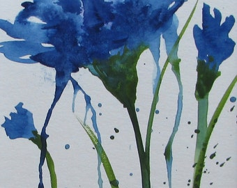 watercolor painting Cornflowers #1