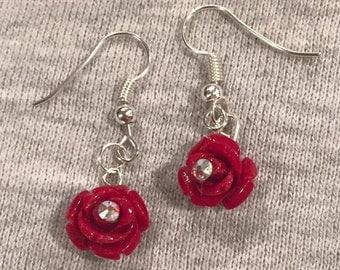 Rose Earrings with a swarvoski crystal