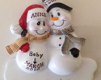33% Off Personalized Christmas Ornament Pregnant Snowman Couple,Expecting Parents Mom to be, Dad to be, Pregnancy announcement