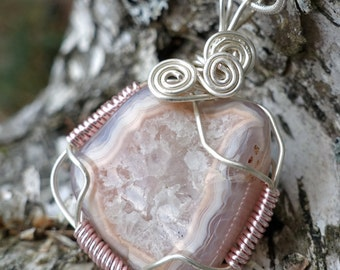 Pinkish Peach Agate Crystal Center Wire Wrapped Pendant Necklace, Nature Inspired Boho Jewelry, One of a Kind Agate Necklace, Gift for Her