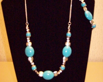 3 pc. Silver and Turquoise Howlite Necklace Set