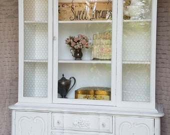 SOLD!! SOLD!!Vintage, 1940's, China, Display Cabinet, White, Hand Painted, Shabby and Chic Style