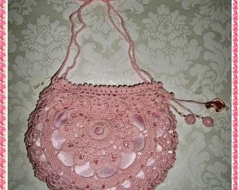 Silk Crochet Evening Bag Purse Clutch- Light Pink #014 with Brocade lining Swarovski Crystals