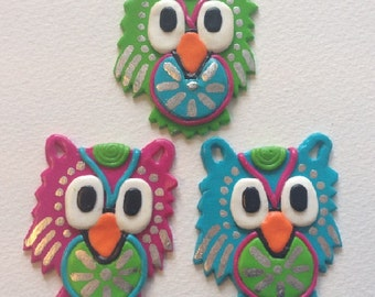 Clay owl necklace
