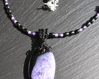 Purple Druzy Geode Agate Necklace