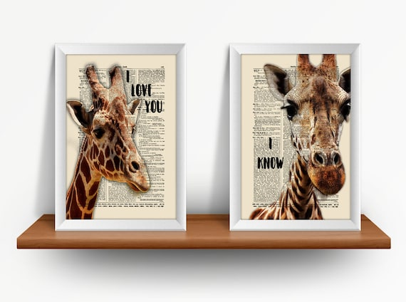 Giraffes In Love, 2 Print Set, I Love You, I Know, Mixed Media Print On Vintage Dictionary Page