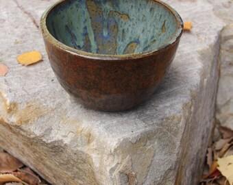 Drippy Blue And Espresso Medium-Sized Bowl