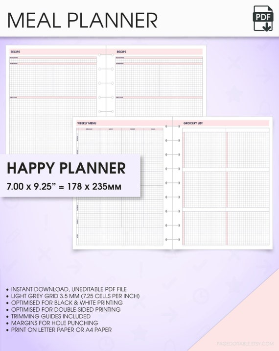 Meal  Menu Planner Happy Planner Printable Inserts Meal
