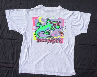 90s Neon Gecko Nights Hawaii T-Shirt. Radical Sunglasses Surf Gecko Tee, Made in U.S.A.