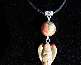Carved Unakite Angel Gemstone Pendant Cord Necklace