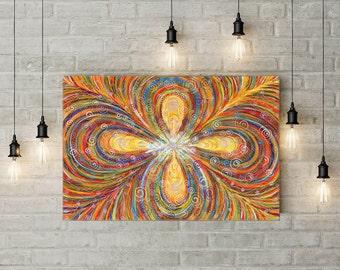 Intuitive painting Orange Fractal Abstract painting 60х90 cm Zen art