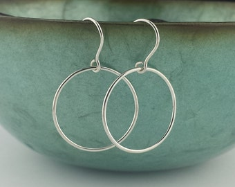 Round Hoop Earrings, Sterling Silver Earrings, Argentium Sterling Silver, Women, High Polish, Minimalist Earrings, Gift for Her