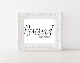 Wedding Reserved Sign - Reserved Table Sign - Reserved for Family Sign - Reserved Wedding Sign - Reserved Chair Sign - Wedding Table Decor
