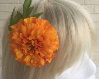 Kawaii Orange Marigold Rockabilly Hair Clip Brooch