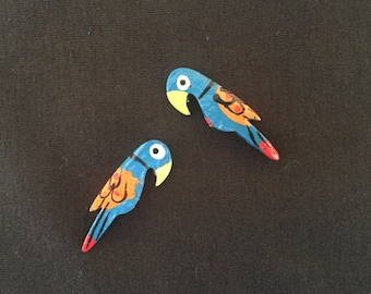 Wooden Painted Parrot Buttons Beads Indian Kutch Gujarat Blue Handmade Parrot Buttons 3.5 cm Two-sided Bird Buttons Price for 6 pcs