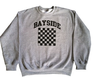 Bayside Chess Team Sweatshirt As Worn By Screech Powers In Saved By The Bell TV Show High School Tigers 80s 90s Costume Jumper Adult Gray