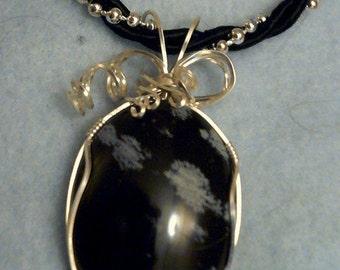 Snowflake Obsidian Pendant Necklace Handmade