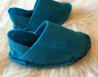 Teal blue flet baby shoes 0-3m