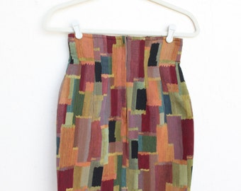 High Waisted Pencil Skirt- Body Con, Abstract, Vintage, Art, Paint, Size 2