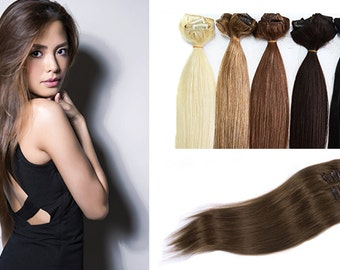 "21"" Clip In Extensions 100% Remy Human Hair"