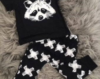 Racoon top and leggings baby boy girl toddler 0 - 3 months