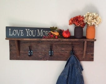 Rustic reclaimed wood coat rack
