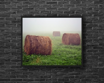 Rustic Photo - Hay Bales Photo - Bales of Hay Photo - Farm Photo - Rural - Fields - Country Wall Decor - Rural Wall Decor - Farmhouse Decor