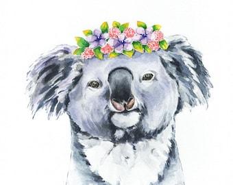 Koala  Watercolor, Safari Watercolor Print, Safari Animal Print, Koala Wall Decor, Nursery Art