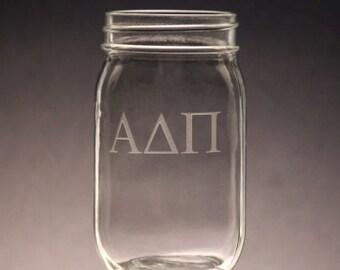 Alpha Delta Pi | Mason Jar Etched ADPI Mason Jar