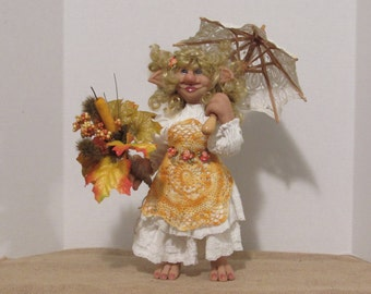 "OOAK Art Doll, Fantasy Creature,  Polymer Clay Sculpture, 17"" House Brownie, ""ESTHER ANN"" Art Doll, by ds hahn"