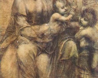 Antique 1910 Wooden Icon of The Virgin and Child Saint Anne Saint John the Baptist by Leonardo da Vinci Interior Design BoutiqueByDanielle
