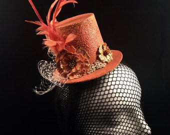 Miniature Top Hat Fascinator Hand Painted Pumpkin Cosplay Wedding Victorian Fantasy Tea Party Wearable Art Millinery Accessories Feathers
