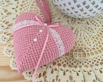 Crochet Wedding heart. Wedding pillow. Wedding decor.