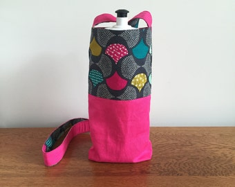 Handmade Fabric Water Bottle Bag, Drink Bottle Holder, Drink Bottle Carrier for hiking or walking, reversible