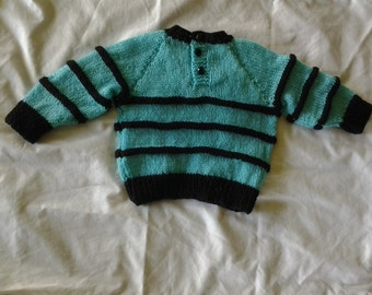 hand knitted jumper. 3 to 6 mths.