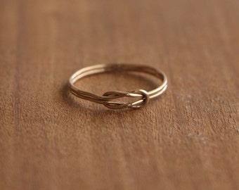14K Gold Sailor Knot Ultra Thin Ring, 14K Gold Stacking Ring, Sailor Knot Dainty Ring, Handmade Gold Ring
