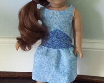 """18"""" doll dress: Blue knee-length dress with a triangle waistband"""
