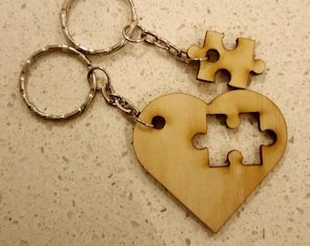 Jigsaw Heart Key Ring Pair