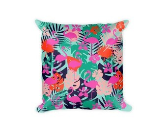 Flamingo Pillow, Tropical Pillow Covers, Printed Pillow, Flamingo Pillowcase, Tropical Pillowcase, Tropical Decor, Decorative Pillows,