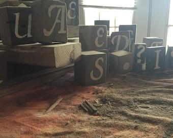 Single Barn Wood Letter Blocks